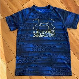 Boys Under Armour blue and black with yellow shirt